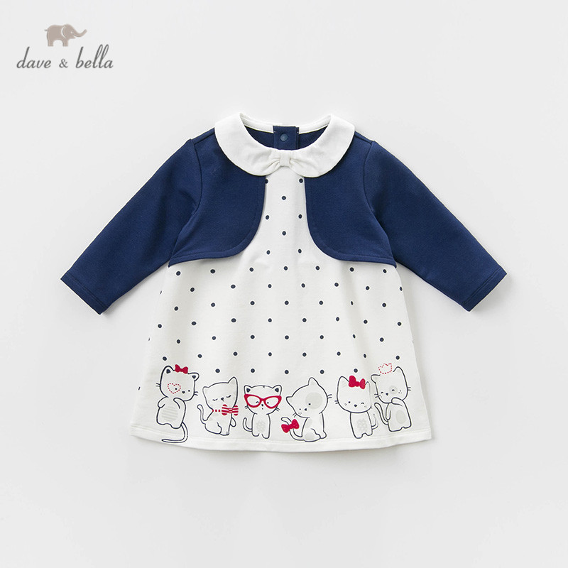 DB12955 dave bella printemps bébé fille princesse dots robe de bande dessinée enfants mode robe de fête enfants infantile lolita vêtements