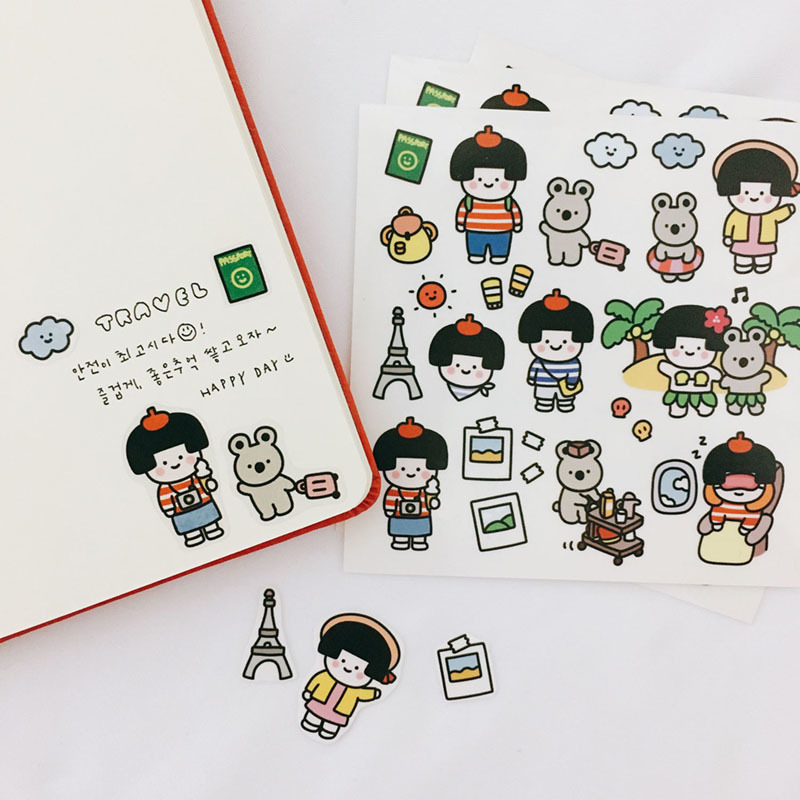 Ins Hot Cartoon Vacation Party PVC Stickers Seal Sticker Color Hand Account Decoration Wall Stickers Korean Campus Stationery