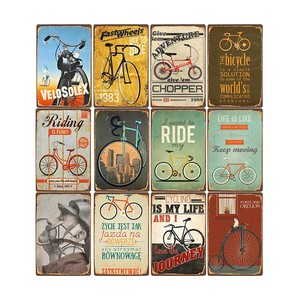 Ride Bicycle Metal Signs Vintage Riding Bike Retro Poste Bar Pub Club Decoration Shabby Chic Wall Art Painting Plaque 20x30cm