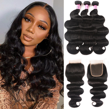 Unice Hair Peruvian Body Wave 3/4 Bundles with Closure Natural Color Remy Human Hair Weaving Human Hair Bundles With Closure