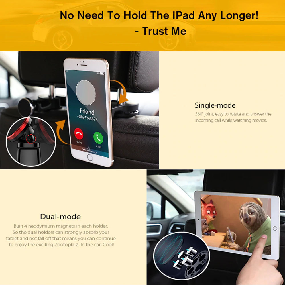 Universal Stand Magnetic Car Phone Holder Rear Back Seat Headrest Pillow Support Magnet Mount Hook For iPhone Samsung in Universal Car Bracket from Automobiles Motorcycles