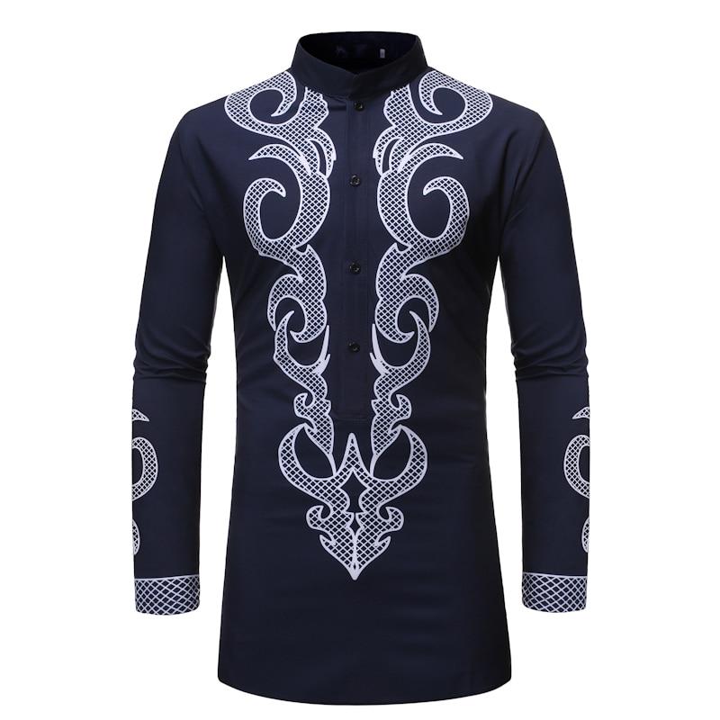 Extra Long African Dashiki Print Shirt Men 2020 Brand Streetwear Longline African Clothes Men Slim Fit Long Sleeve Dress Shirts