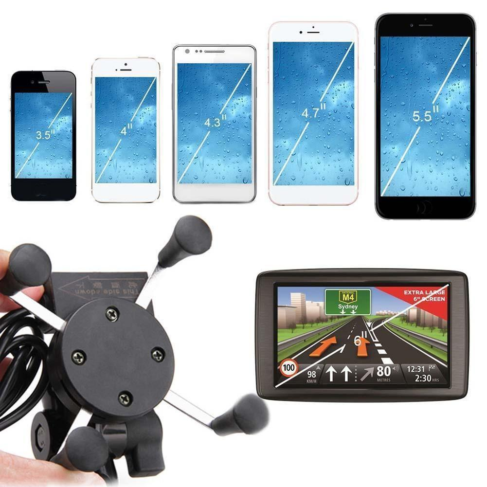 Universal 360 Degree Rotation X-Grip Motorcycle Mobile Phone Stand Holder With USB Charging Port ABS Four Frosted Rubber Feet