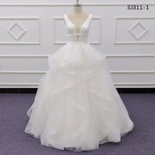 SJ311-1real sample A-line organza ivory v neck belt luxury elegant sleeveless wedding dress gown elegant v neck sleeveless leaf print a line women s maxi dress
