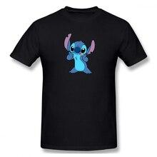 100% cotton Lilo And Stitch Drawing print casual mens o-neck t shirts fashion Mens Basic Short Sleeve T-Shirt