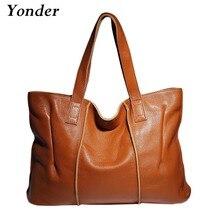 Yonder Fashion 100% Genuine Leather Women Handbag Casual Tote Large Capacity Elegant Lady Shoulder Crossbody Bags Black yellow
