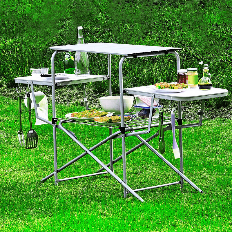 Outdoor folding table Mobile kitchen portable Easy to carry Belt hook With storage rack self-driving tours In the wild Picnic