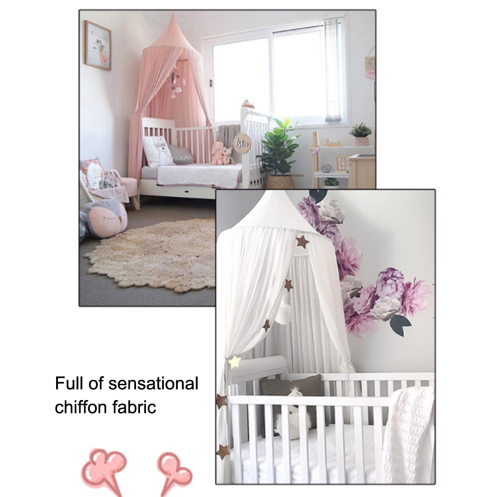 Baby Crib Netting Princess Dome Bed Canopy Mosquito Net Nursery Play Tent Hanging House Decoration For Babys Sleeping 4 Colors