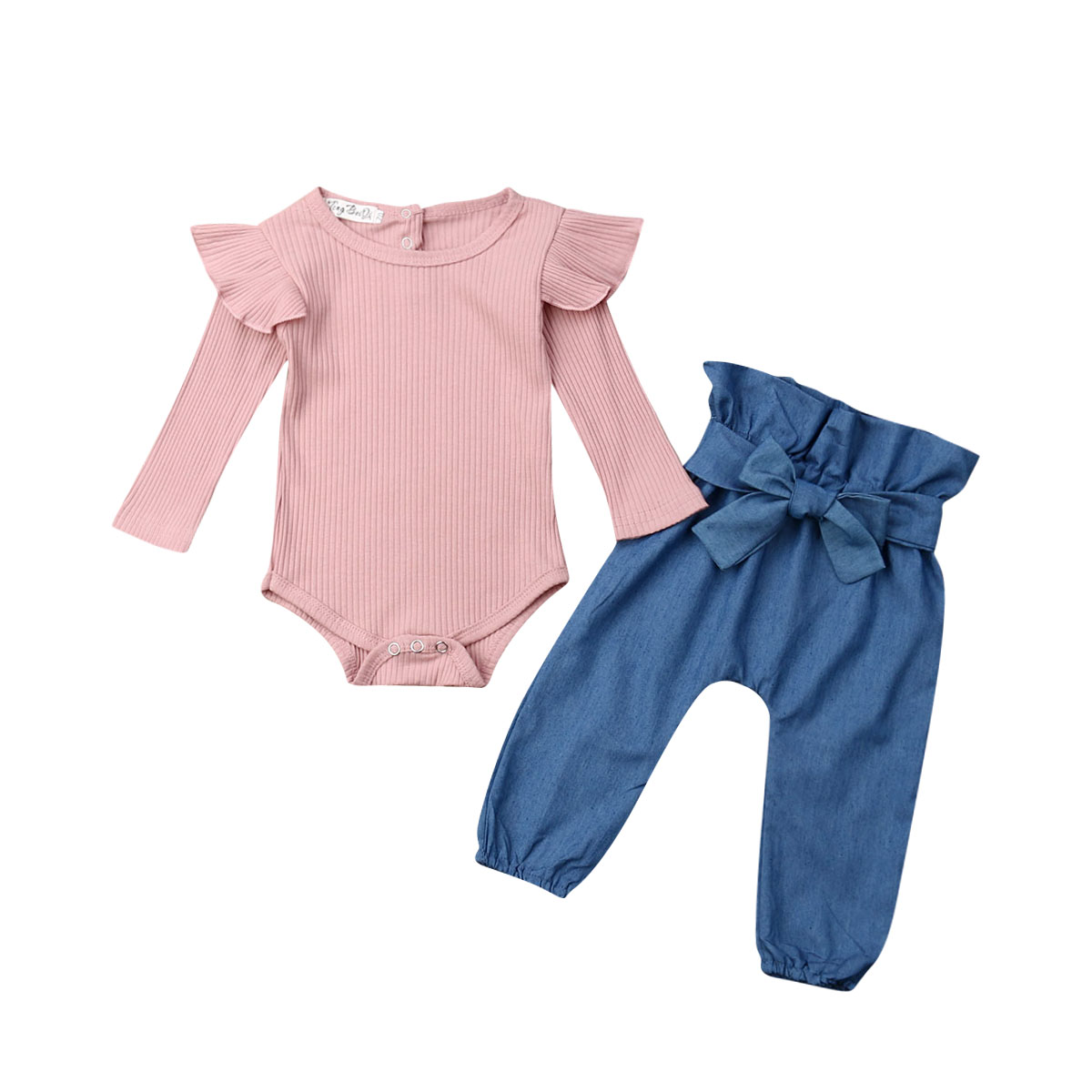 Baby Girl Clothes Autumn Cotton Newborn Infant Baby Girl Jumpsuit Flying Sleeve Bodysuit Bowknot Denim Pants 2Pcs Outfits Sets