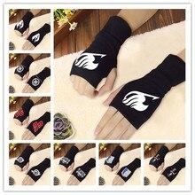 Аниме перчатки без пальцев Наруто Сказочный хвост Токийский Гуль атака на Титанов Fate Zero Gintama Hatsune Miku вязаные наручные перчатки