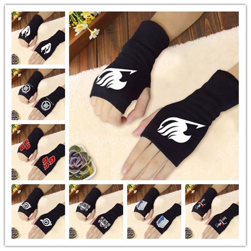 Anime Fingerless Gloves Naruto Fairy Tail Tokyo Ghoul Attack On Titans Fate Zero Gintama Hatsune Miku Knitting Wrist Gloves