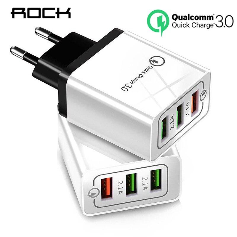 ROCK 3 Portas Carregador Rápido QC 3.0 USB Carregador de Telefone Carregador Rápido EU Plugue Do Carregador Do Telefone Móvel para o telefone para samsung S8 S9