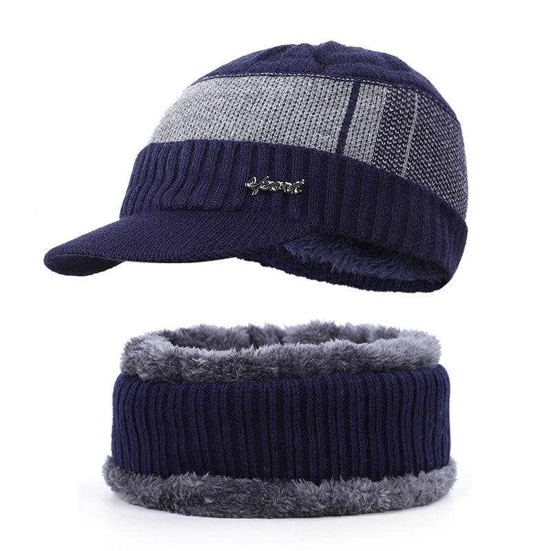 Новая мужская зимняя шапка, шарф с бархатными буквами, полосатая хлопковая шапка, нагрудник, 2 комплекта для мужчин и женщин, открытый теплый костюм, повседневный горошек - Цвет: Navy