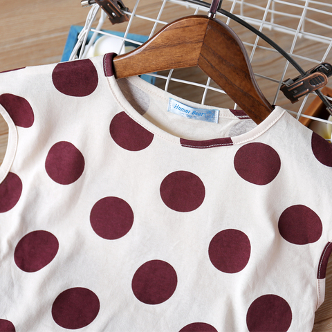 bebe verao roupas polka dot impresso manga