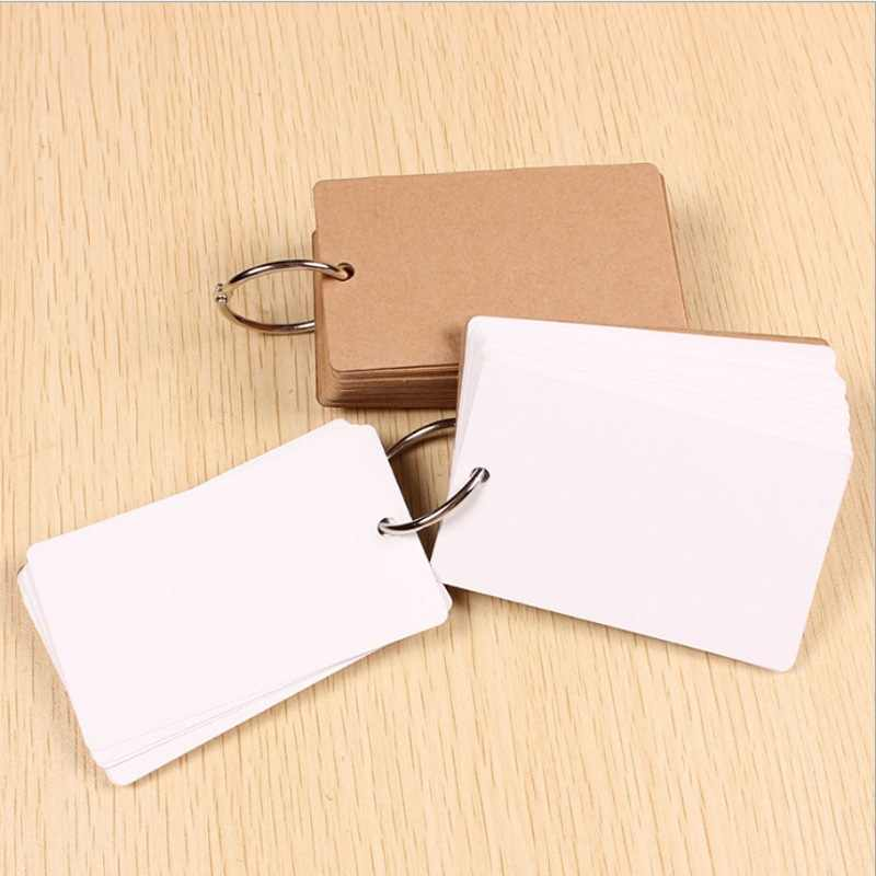 Portable Buckle Binder Notes Flash Cards Memo Pads DIY Blank Card Stationery SP99