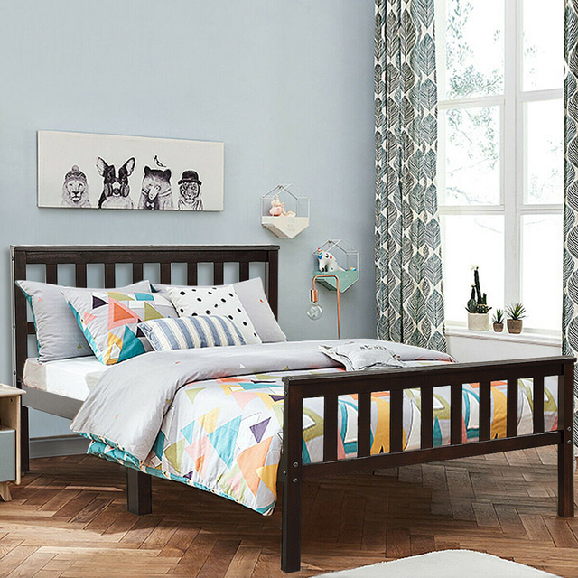 Twin Size Pine Wood Bed Frame  1