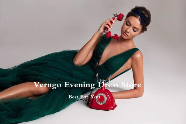 Verngo Modern Dark Green Tulle A Line Long Evening Dresses Sheer Neck High Side Slit Sexy Prom Gowns Women Special Occasion Wear 4