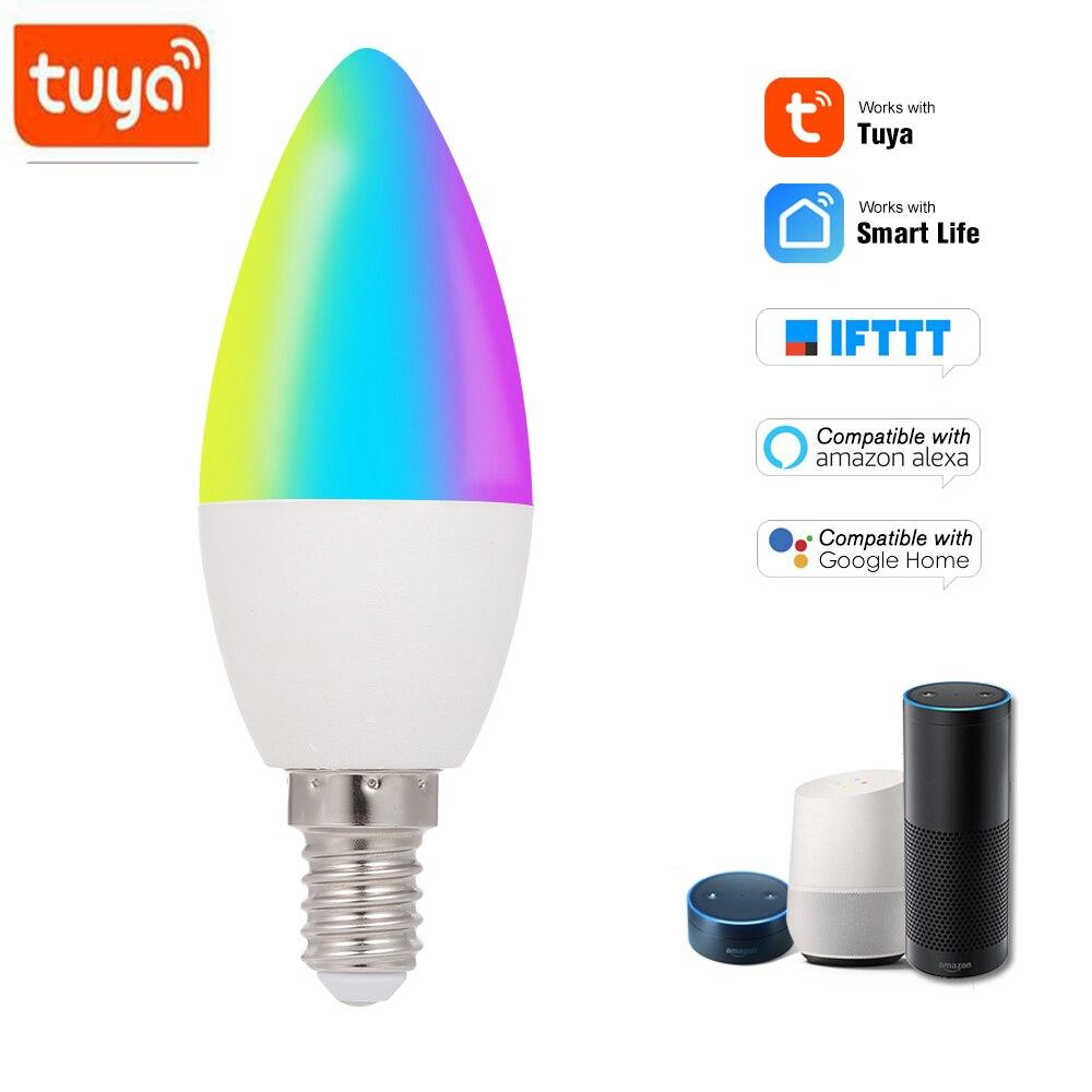 Bombilla inteligente Tuya con WiFi, RGB + W + C, luz regulable E14, SmartLife/Control remoto, Compatible con Alexa y Google Home
