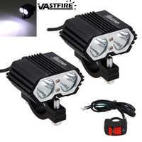 2 pièces 30W 5000LM moto phare Spot lumière 2x XM-L T6 LED brouillard conduite lampe avec interrupteur