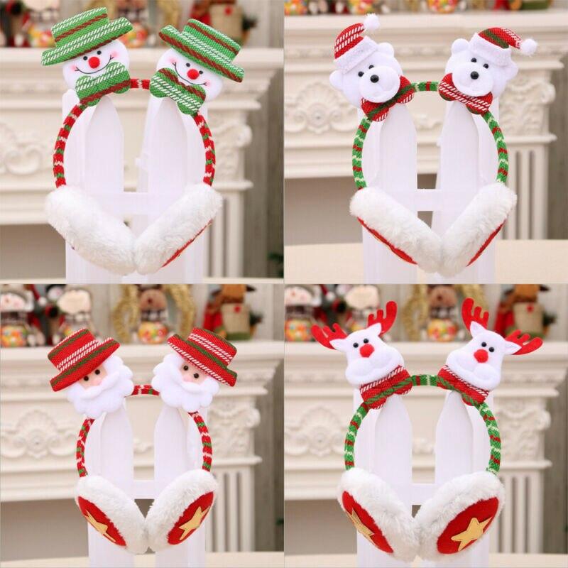 Christmas Cute Cartoon Fur Earmuffs Warmer Women Men Plush Winter Warm Thick Fluffy Xmas Cotton Soft Ear Coldproof Accessories