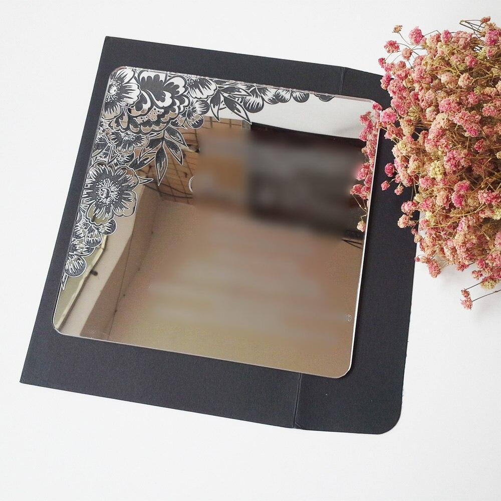 100пцс по пуно прелепог цвета 7к7инцх квадратног облика ласерски урезаних слова сребрно / златно огледало акрилна свадбена позивница