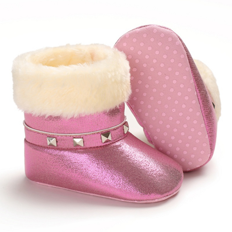 Winter Warm Baby Girls Soft Booties Plush Infant Anti Slip Snow Boots Shoes PU Leather Flat Cute Toddler Non-slip Baby Shoes