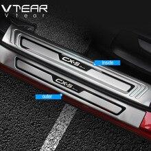 Vtear Protector de umbral de puerta de coche, embellecedor de placa de desgaste, placas de protección de acero inoxidable, cubierta, para Mazda CX 5 CX5