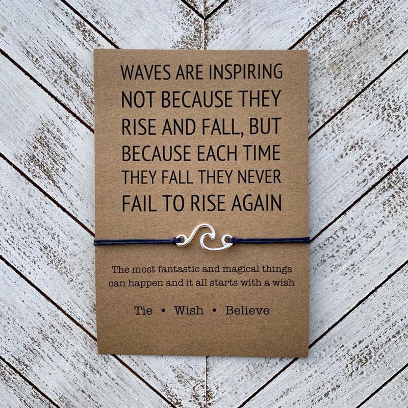 Waves Are Inspiring Wish Bracelet Nautical Surfing Ocean Wave Charms Bracelet Beach Jewelry for Women Men Friendship Beach Gift