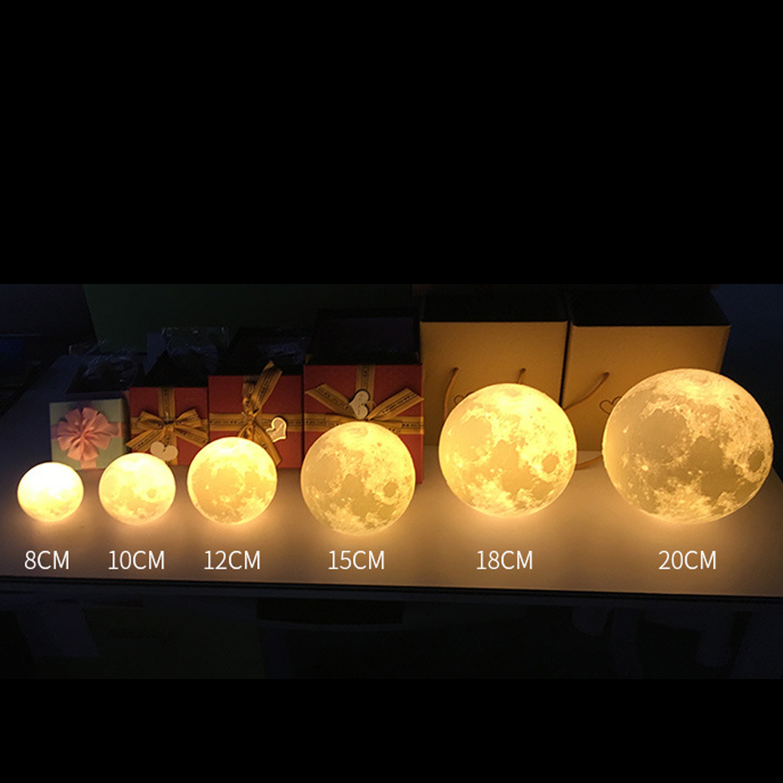 2 Color Change 3D Light Touch Switch Rechargeable Moon Lamp 3D Print Lamp Moon Bedroom Bookcase Night Light Creative Gifts