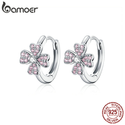 bamoer 925 Sterling Silver Dazzling Pink Flower  Ear Hoops Earrings for Women Silver 925 Jewelry CZ Weddin Brincos BSE331
