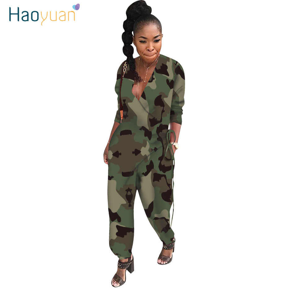 HAOYUAN Camouflage Loose Harem Jumpsuit Fashion Nova Rumper One Piece Outfit Body Overalls Fall Rave Rompers Womens Jumpsuit