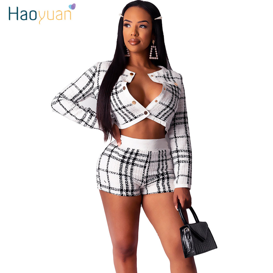 HAOYUAN Sexy Tweed Plaid Two Piece Sets Women Festival Fall Winter Outfits Long Sleeve Crop Coat+Shorts 2 Piece Matching Sets