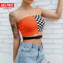 Aelfric Streetwear Cropped Tops Vests 2020 Summer Patchwork Panelled Sexy Casual