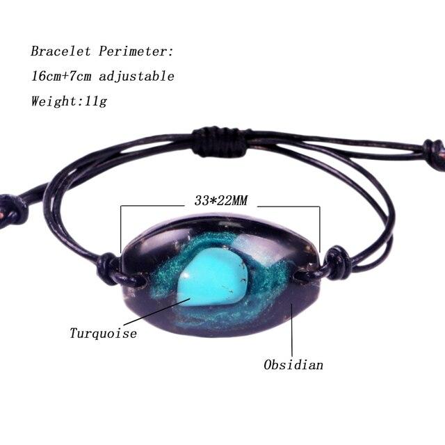 Orgonite pulseira natural turquesa energia pulseira charme cura jóias pulseira reiki obsidiana meditação pulseira para mulher 5