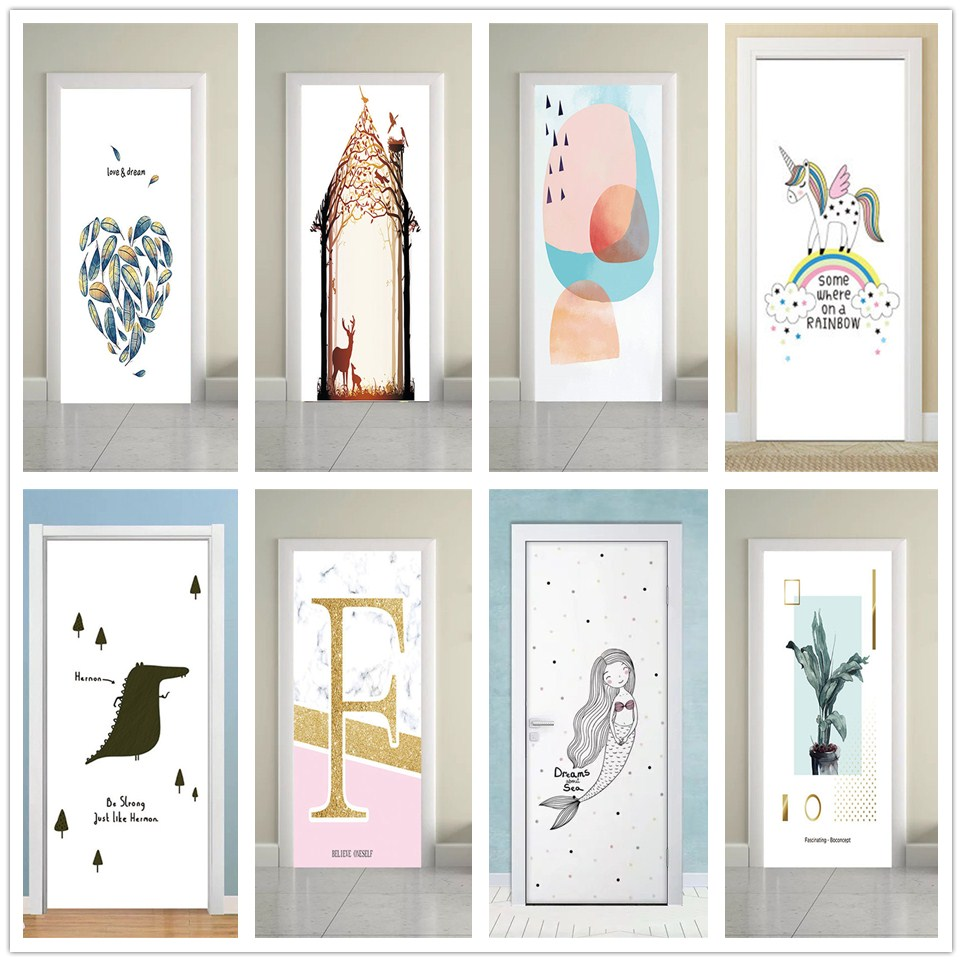 Simple Pattern Stickers On The Door Suitable For Living Room Bedroom Home Decor Self-adhesive Removable Vinyl Poster De Portes