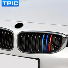 For BMW E90 E92 E93 F30 F34 E46 TPIC ABS Car Stickers 3D M Styling Front Grilles Covers Trim Sport Strips Performance Auto Parts