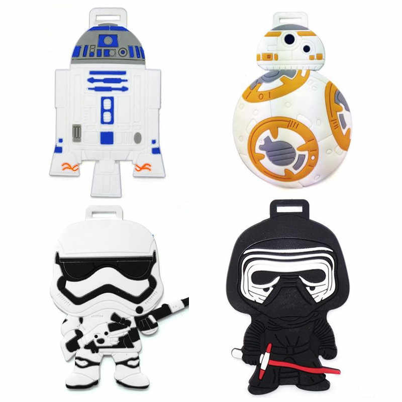 Nieuwe Cartoon R2-D2 Bagage Tags BB-8 Black Knight Silicon Naam Id Reizen Koffer Handtas Tag Accessoires Draagbare Label Gift
