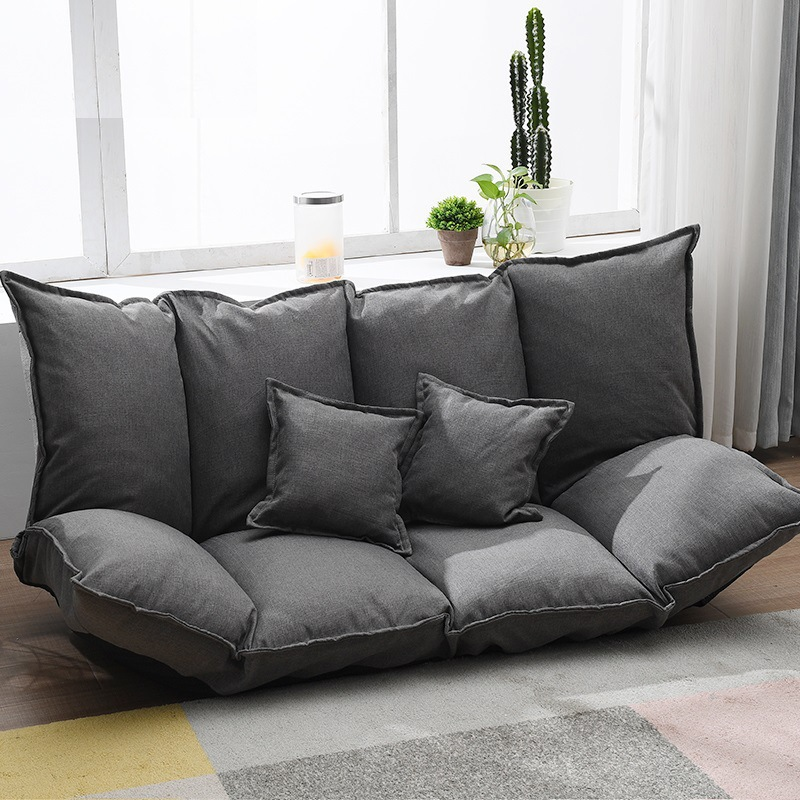 Linen Fabric Lazy Sofa Tatami Single Folding Sofa Bed Dual-purpose Small Huxing Floor Sofa Double Bedroom Sofa With 2 Pillow