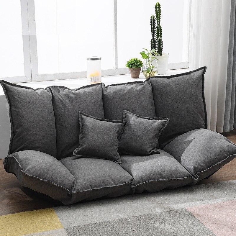 Tissu de lin paresseux canapé Tatami simple canapé-lit pliant Double usage petit Huxing plancher canapé Double chambre canapé avec 2 oreiller