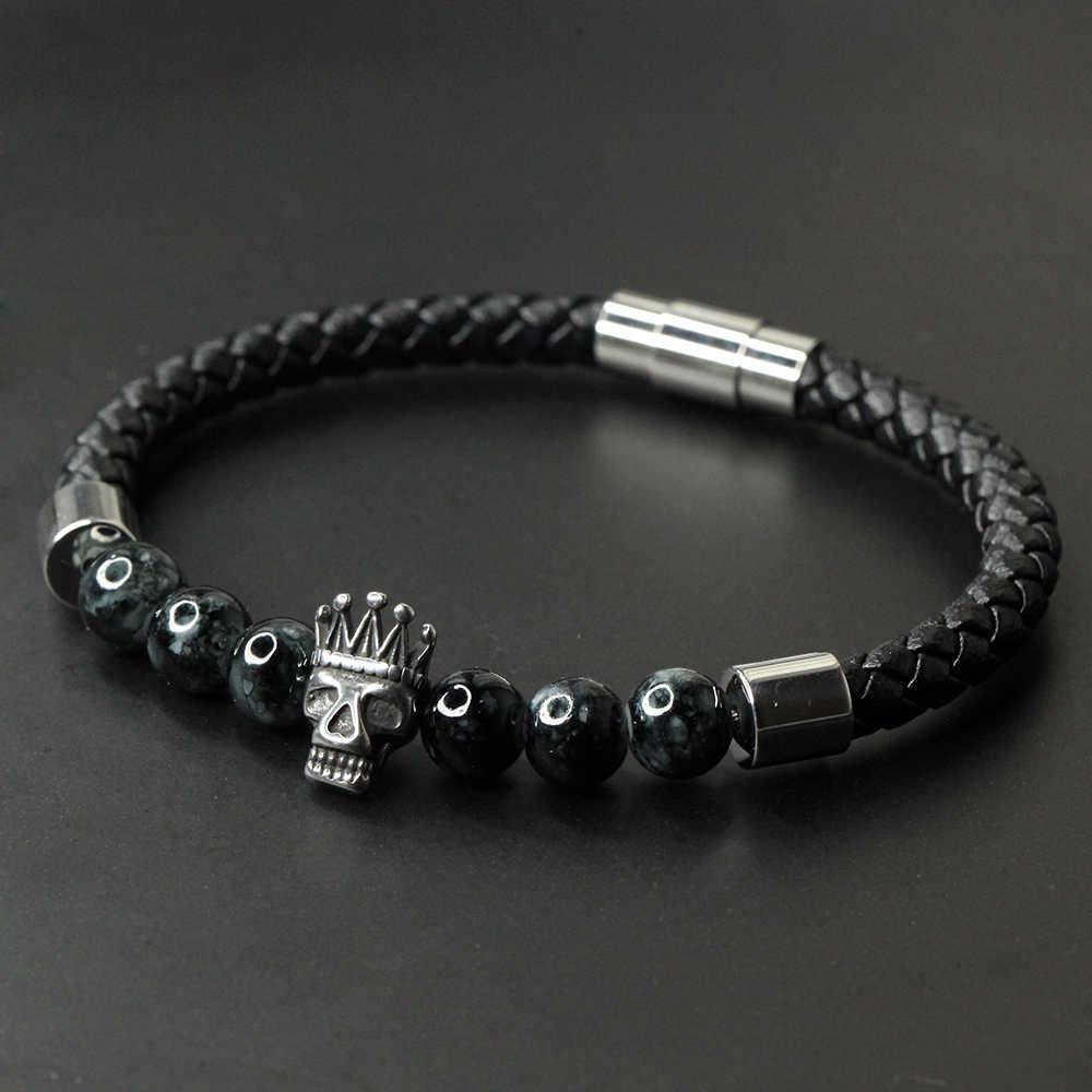 Czaszka skórzana bransoletka z kamienia naturalnego mężczyzn bransoletki ze stali nierdzewnej bransoletki męskie 2019 biżuteria punkowa mężczyźni akcesoria Handmade