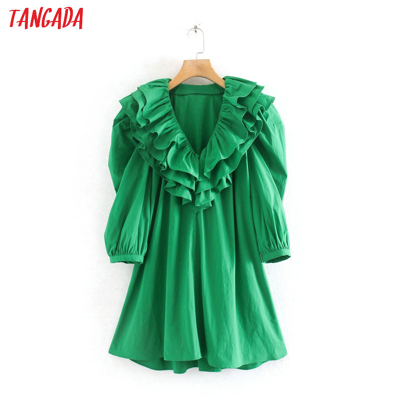 Tangada Fashion Women Ruffles Green Summer Mini Dress Short Sleeve V Neck Ladies Loose Mini Dress Vestidos 2W133