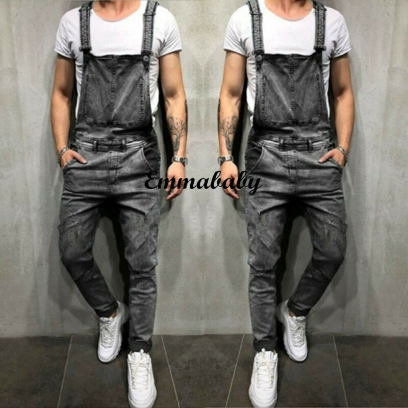 Men's Denim Dungarees Fashion Jumpsuit Ripped Jeans Overalls Cargo Long Pants Trousers Clothing