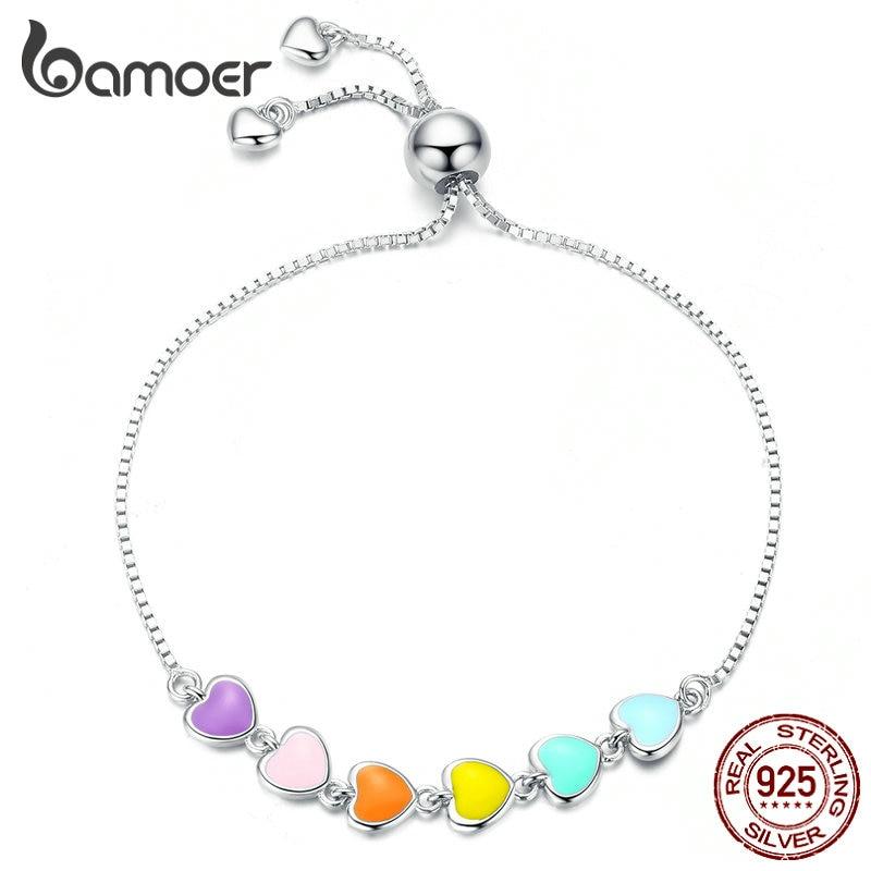 bamoer Rainbow Color Enamel Heart Bracelet for Women Heart-shape 925 Sterling Silver Chain Bracelet Anti-allergy Jewelry SCB158