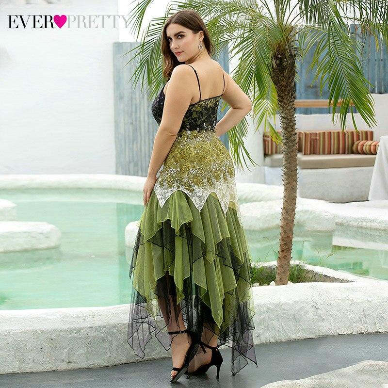 Plus Size Evening Dresses Asymmetrical Spaghetti Straps V-Neck Sequined Lace Formal Party Gowns Vestido 2020 - plus-size-dresses