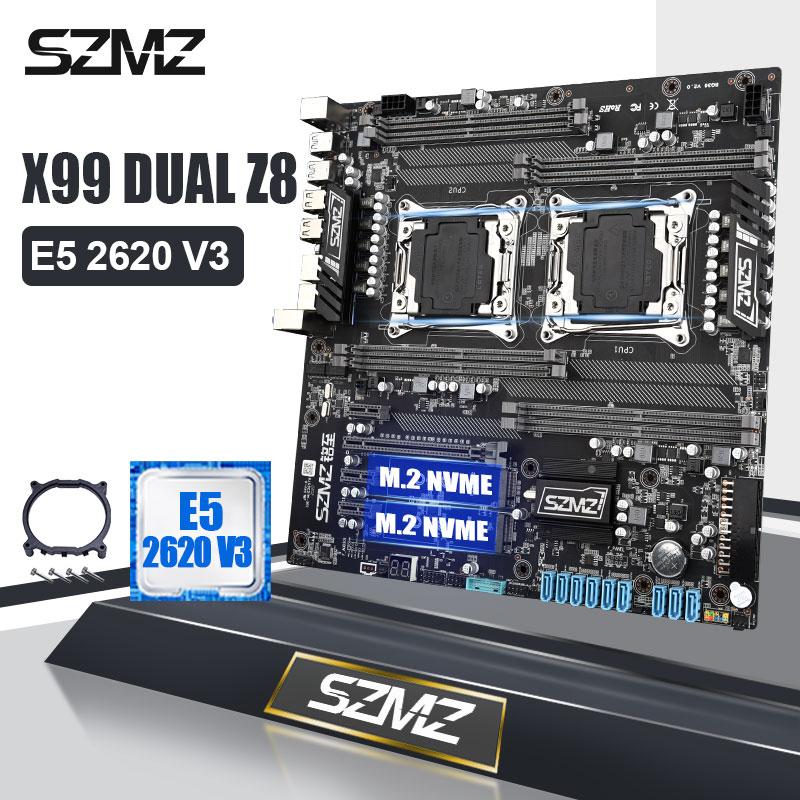 SZMZ X99 Dual CPU Socket LGA 2011 3 материнская плата с 1 шт. E5 2620V3 CPU|Материнские платы|   | АлиЭкспресс