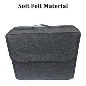 Image 3 - Buendeer 35x30x20 см органайзер для багажника автомобиля Складная войлочная сумка для хранения Нескользящая противопожарная автомобильная сумка для багажника для продуктов Органайзер серый/черный
