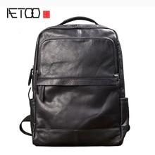 AETOO Men fashion trend backpack shoulder bag male leather Korean travel bag black leather personality casual male bag