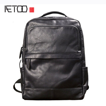 AETOO Men fashion trend backpack shoulder bag male leather Korean travel bag black leather personality casual male bag 2017 backpack male