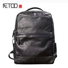 AETOO Uomini di tendenza di moda zaino borsa a tracolla maschile borsa in pelle borsa da viaggio Coreano in pelle nera di personalità casuale sacchetto maschio