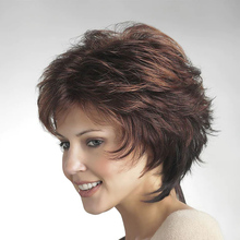 50% Human Hair 50% synthetic blend short Layered Haircut wig With Bangs Blonde Brown Women Natural costume wigs Pixie Cut